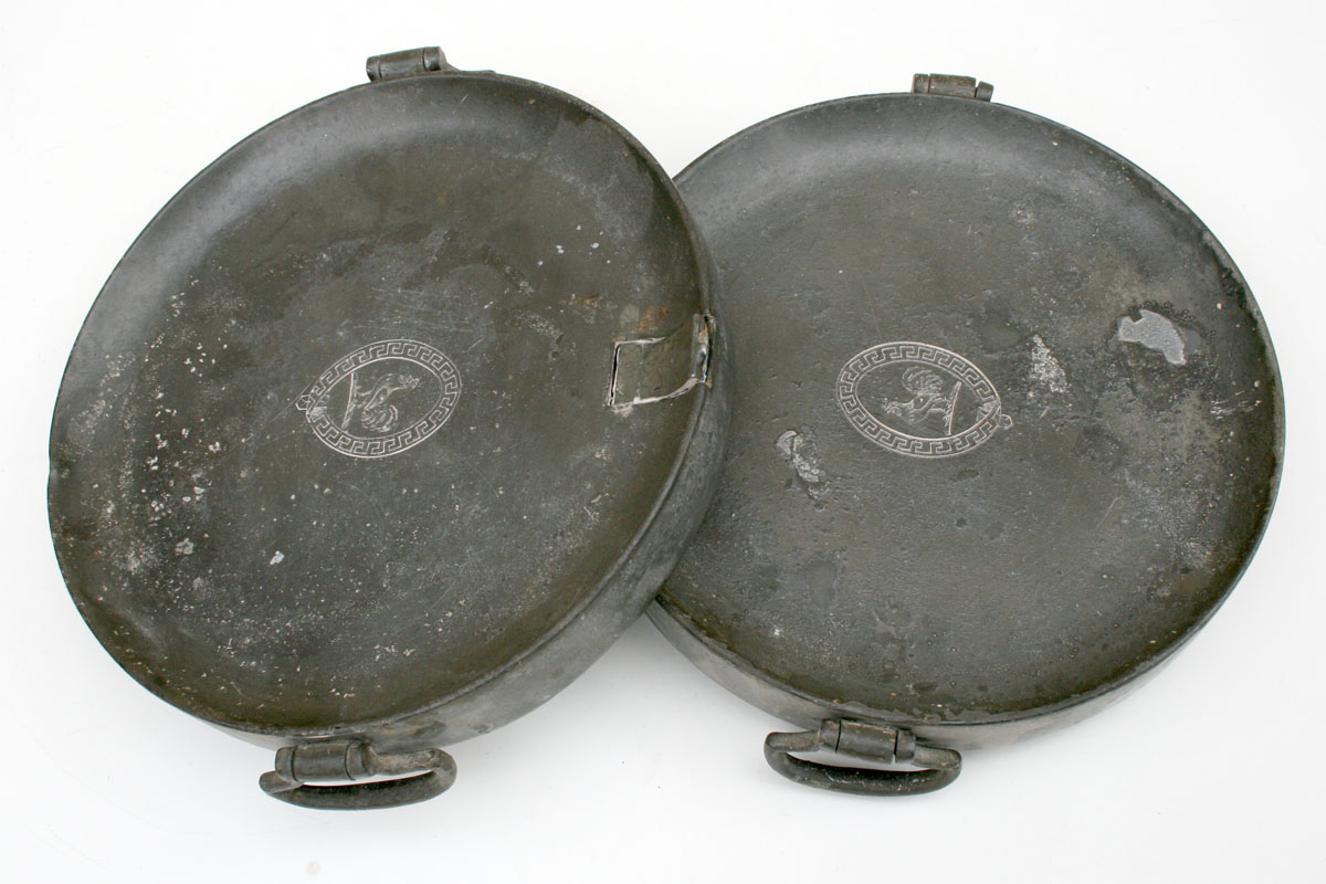Dinner Plate Warmer ~ Pair of georgian pewter plate warmers circa for sale