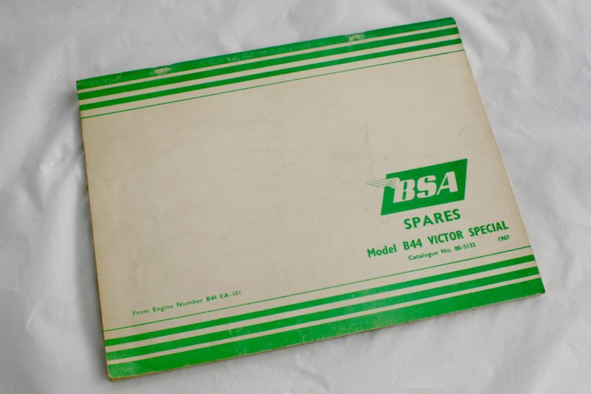 BSA B44 Victor genuide parts catalogue for sale Spa Cottage Collectables