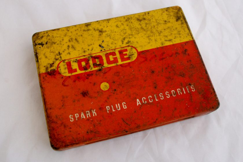 Vintage Lodge Spark Plugs Tin for sale at Spa Cottage Collectables