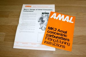 Amal Mk2 concentric carburettor data sheets for sale